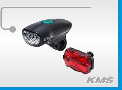 """Набор: фара велосипедная, JY-822С (4 диода), черная + стоп задний, """"KMS"""""""