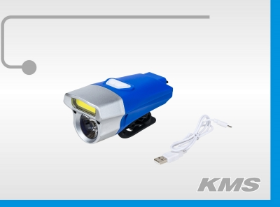 Фара велосипедная передняя, встроенный аккумулятор, USB зарядка.