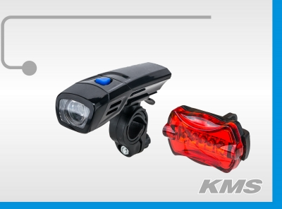 Набор: фара велосипедная, передняя (1 супер яркий диод) + стоп задний