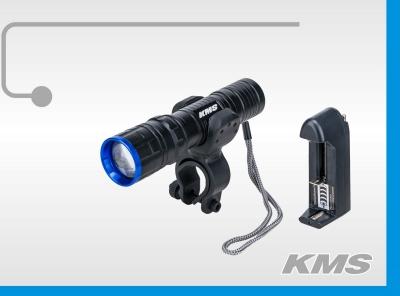 """Фара передняя алюминиевая, 10W, с меняющимся фокусом, + зарядка + аккумулятор, """"KMS""""."""