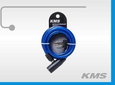 """Велозамок """"KMS"""", трос Ø 10x1000мм, с ключом, инд. упак., модель 2016 года"""