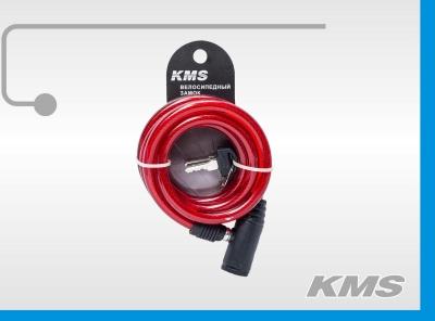 """Велозамок """"KMS"""", трос Ø 10x1500мм, с ключом, инд. упак., модель 2016 года"""