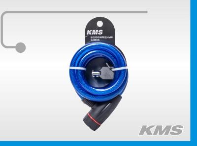 """Велозамок """"KMS"""", трос Ø 12х1500, с круглым ключом, инд. упак., модель 2016 года"""