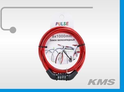 """Велозамок """"Pulse"""", трос Ø 8*1000, кодовый."""