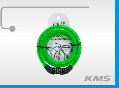 """Велозамок """"Pulse"""", трос Ø 10*1500, кодовый."""