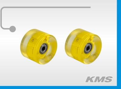 Колеса для скейтов, пара, р-р 60ммх45мм, материал PU, с подшипниками, с подсветкой, Цвета в ящ: 15 син, 15 розов, 10 желт, 10 зел. , инд. упак, бренд KMS.