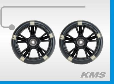 Колеса для самокатов, пара, р-р, 135ммх38мм, материал PU, с подшипниками, с подсветкой, цвет черный, инд. упак, бренд KMS.