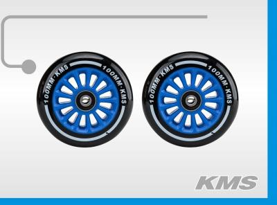 Колеса для трюковых самокатов, пара, пластиковые, диаметр 100мм, с подшипниками, три цвета в ящике: зеленый, синий, красный; бренд  KMS.