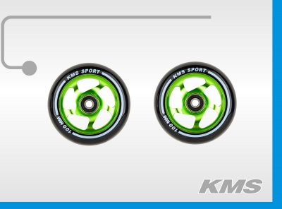 Колеса для трюковых самокатов, пара, алюминиевые, диаметр 100мм, с подшипниками, три цвета в ящике: зеленый, синий, красный; бренд  KMS.