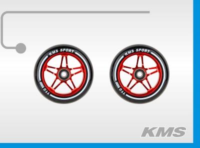 Колеса для трюковых самокатов, пара, алюминиевые, диаметр 110мм, с подшипниками, три цвета в ящике: зеленый, синий, красный; бренд  KMS.